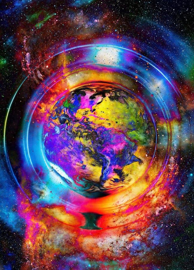 Planetjord i den ljusa cirkeln, kosmisk utrymmebakgrund arkivfoto