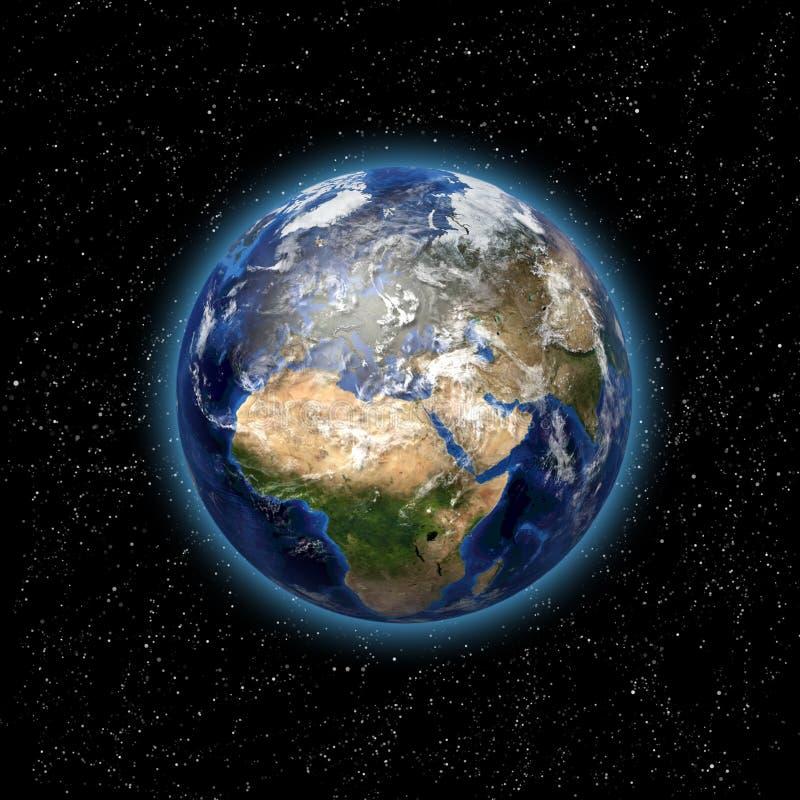 Planetjord i utrymme stock illustrationer