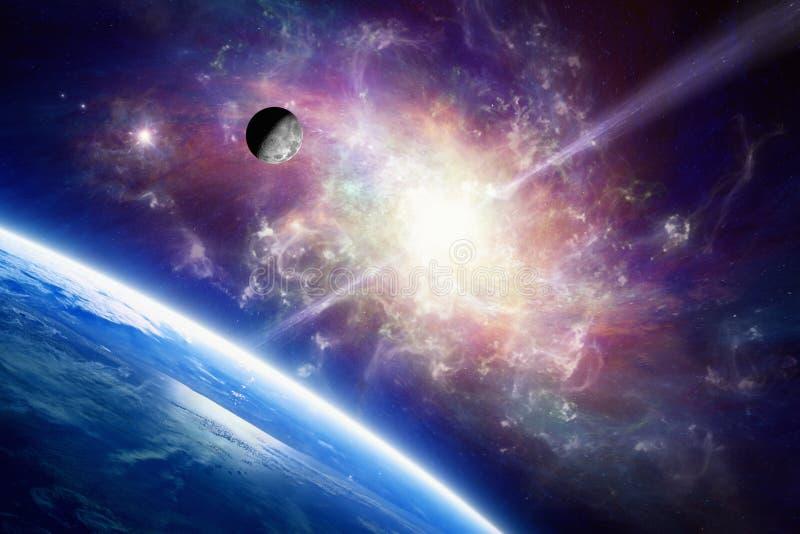 Planetjord i utrymme, måne kretsar kring runt om jord, spiralgalax royaltyfri fotografi