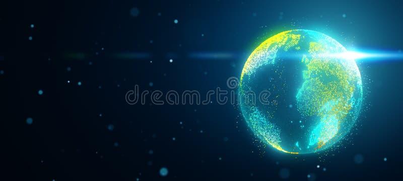 Planetjord i utrymme med den fördunklade signalljuset vektor illustrationer