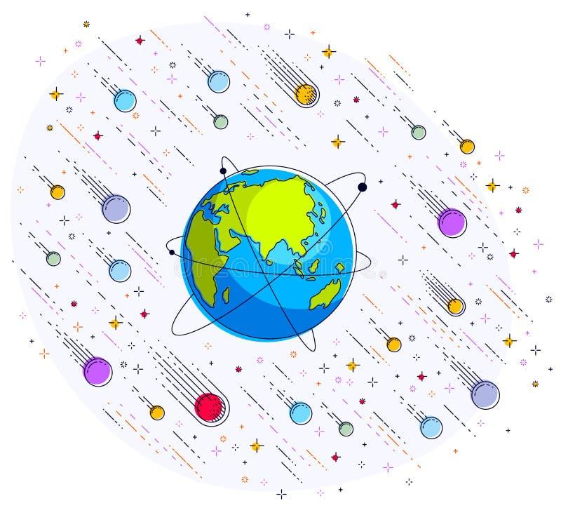 Planetjord i utrymme som omges av stjärnor, komet, asteroider och vektor illustrationer