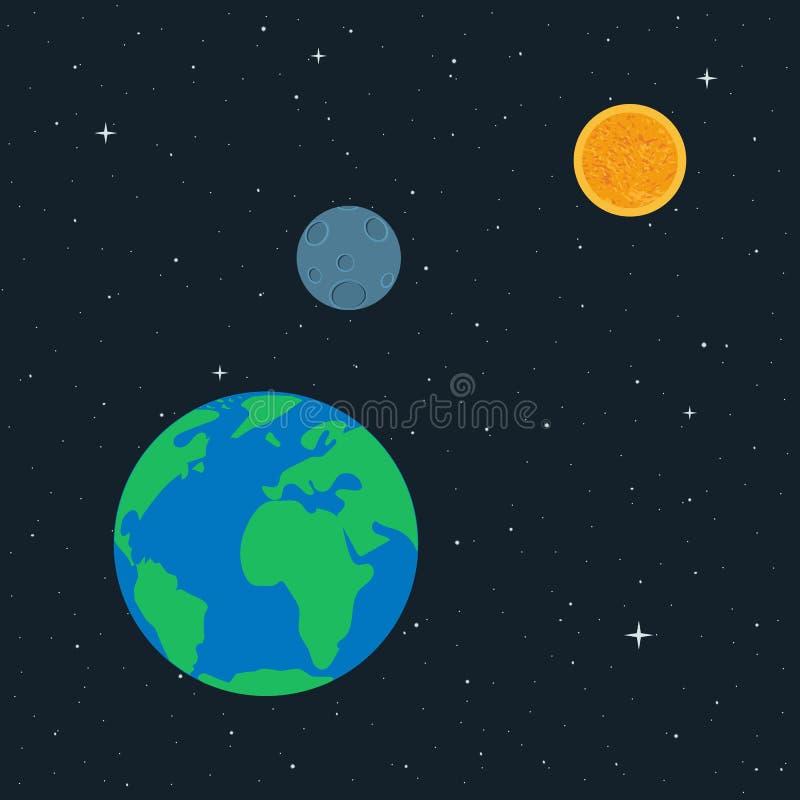 Planetjord, måne och sol i utrymme stock illustrationer