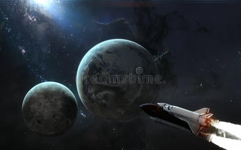 Planetjord, månebaksida, rymdfärja, ISS Solsystem i blått ljus Sciencekonst stock illustrationer