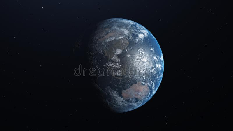 Planetjord med detaljerad lättnad och atmosfär illustration 3d vektor illustrationer