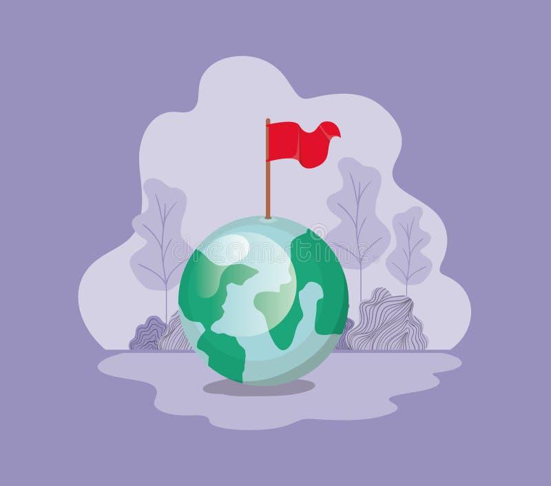 Planetjord med flaggan royaltyfri illustrationer