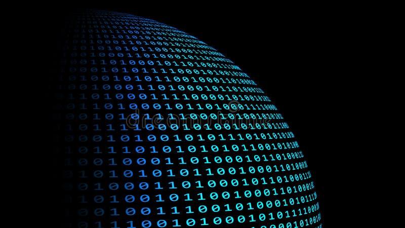 Planetjord med kodnummer för binära data på svart bakgrund A royaltyfri illustrationer