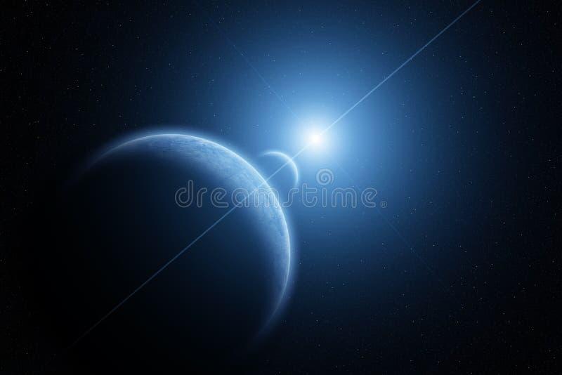 Planetjord med månen och resningsolen stock illustrationer