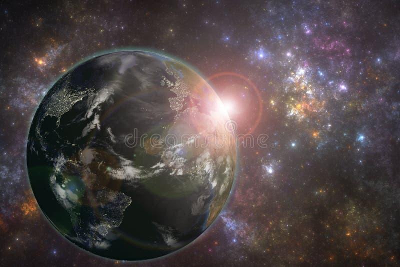 Planetjord med nattstadsljus och resningsolen royaltyfri illustrationer