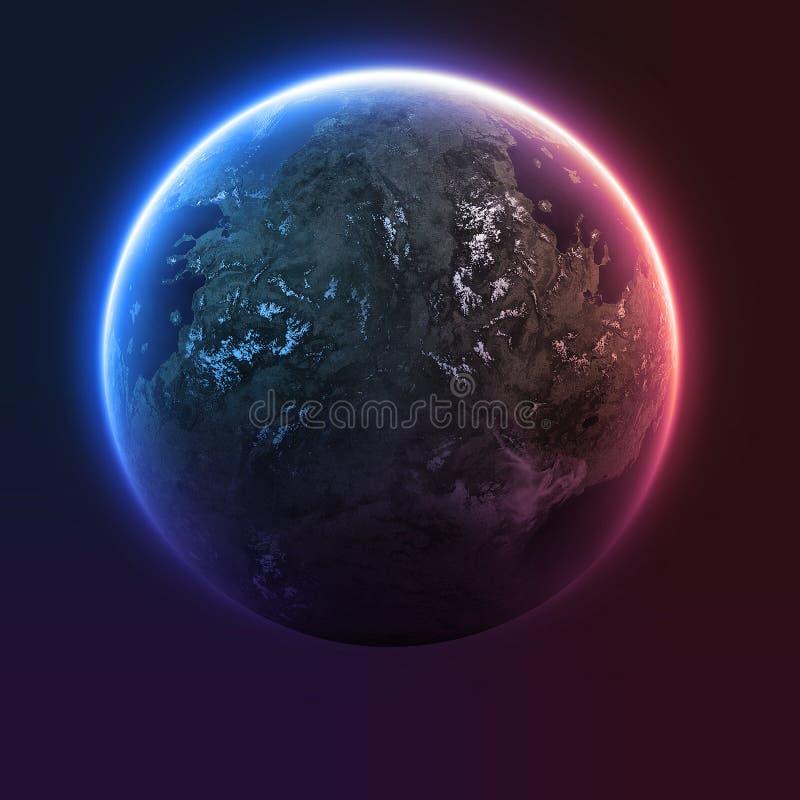 Planetjord med solresning royaltyfri illustrationer