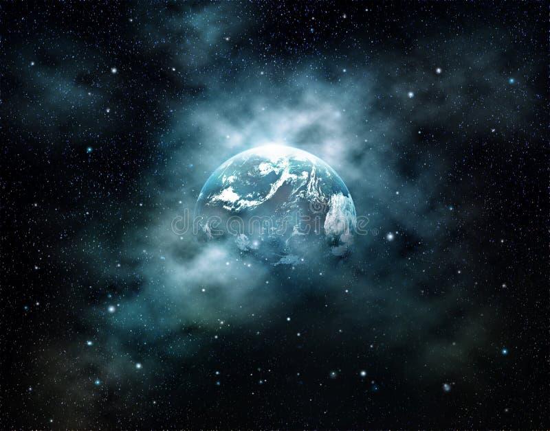 Planetjord med solresning i yttre rymd på stjärnafältet royaltyfri bild