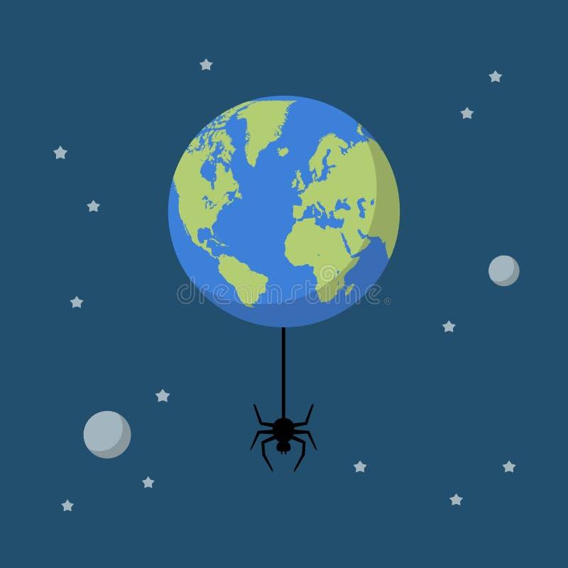 Planetjord med spindeln royaltyfri illustrationer