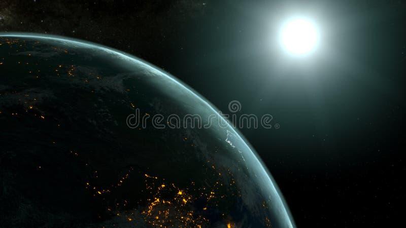 Planetjord mot stigningssolen, blå atmosfär illustration 3d vektor illustrationer