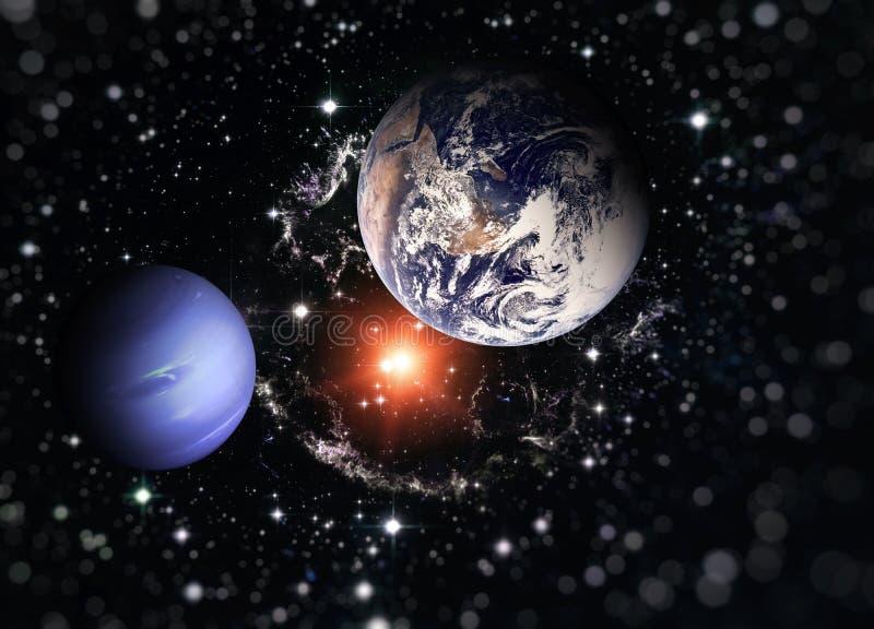 Planetjord och den blåa planeten Beståndsdelar av denna avbildar möblerat av NASA royaltyfri illustrationer