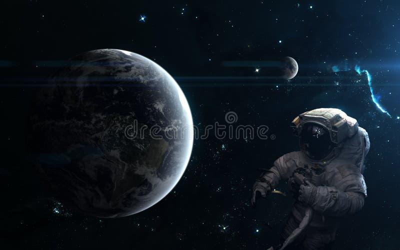 Planetjord och månen Astronaut utrymmelandskap Sciencekonst Beståndsdelar av bilden möblerades av NASA royaltyfri bild