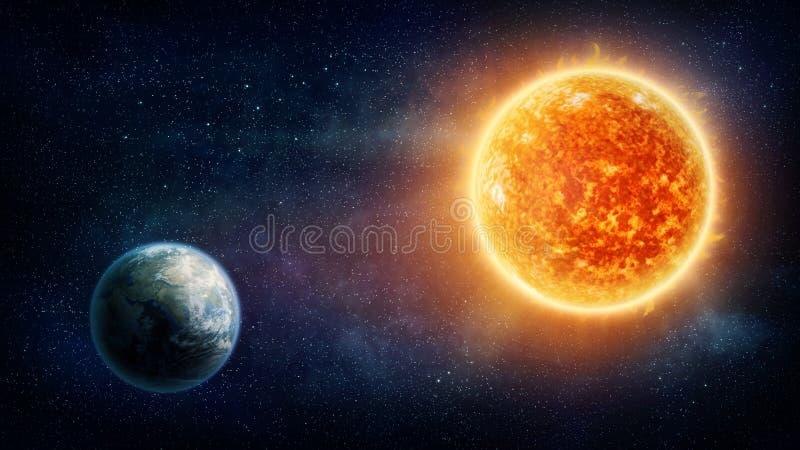 Planetjord och sol royaltyfri illustrationer