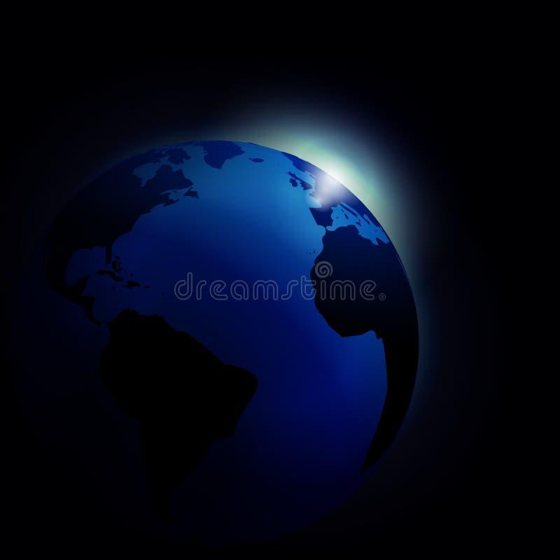 Planetjord och soluppgång in i utrymmebakgrund royaltyfri bild