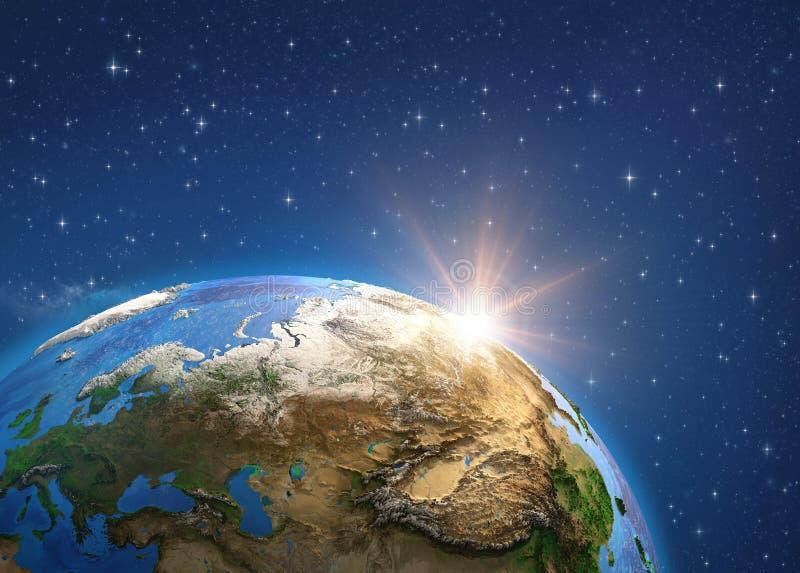 Planetjord och soluppg?ng Europa och Asien fr?n utrymme arkivfoton
