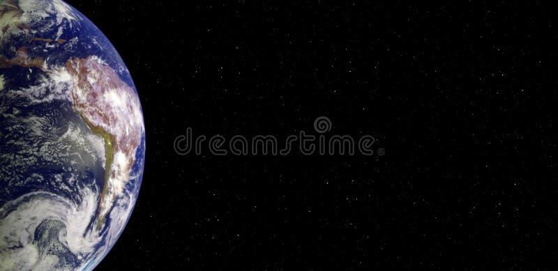 Planetjord och Sydamerika baner från utrymmet på natten arkivfoton