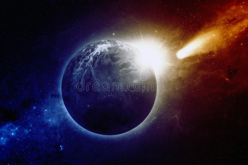 Planetjord, sol, komet arkivbilder