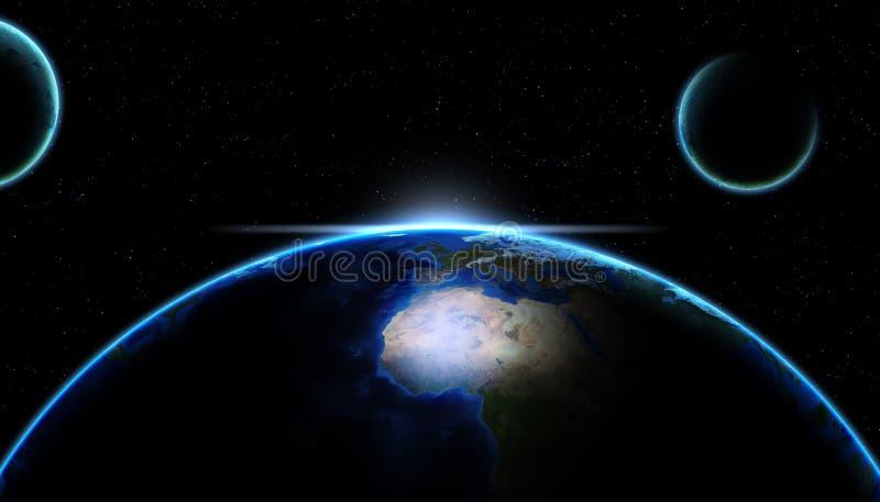 Planetjord som glöder från utrymmet över galaxstjärnor royaltyfri illustrationer