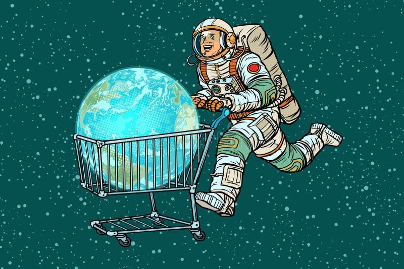 Planetjord som köps av astronautet, försäljning för spårvagn för shoppingvagn stock illustrationer