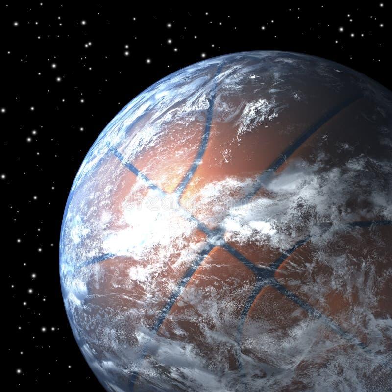 Planetjord som korgboll royaltyfri illustrationer