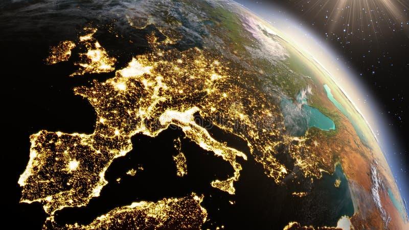 PlanetjordEuropa zon genom att använda NASA för satellit- bildspråk arkivfoton