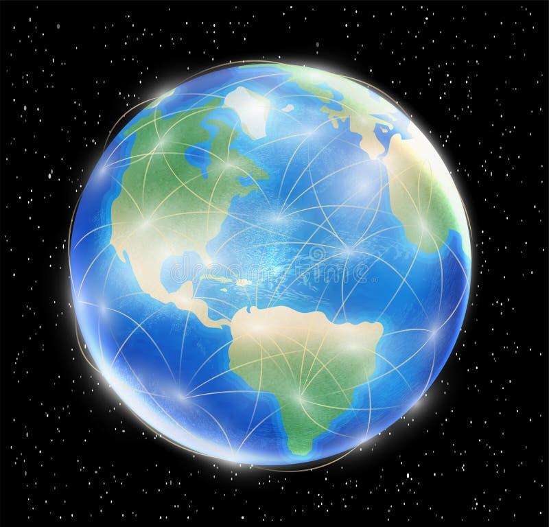 Planetjordjordklot med den förbindelsenätverkslinjen royaltyfri illustrationer