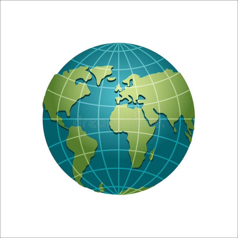 Planetjordjordklot Modell av sfären Astronomiska objekt eller cel stock illustrationer