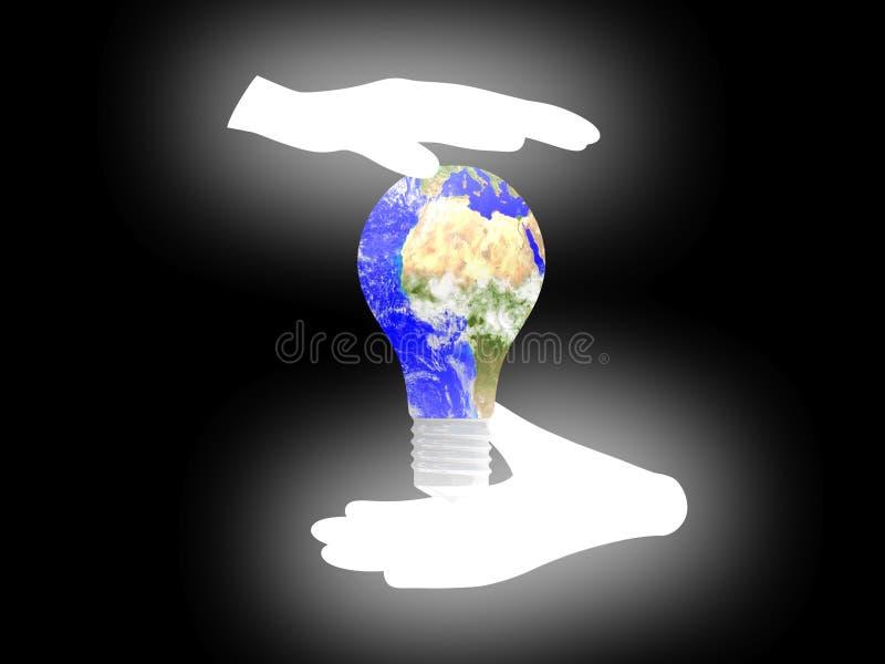 Planetjordkulan gömma i handflatan på bakgrund. royaltyfri illustrationer