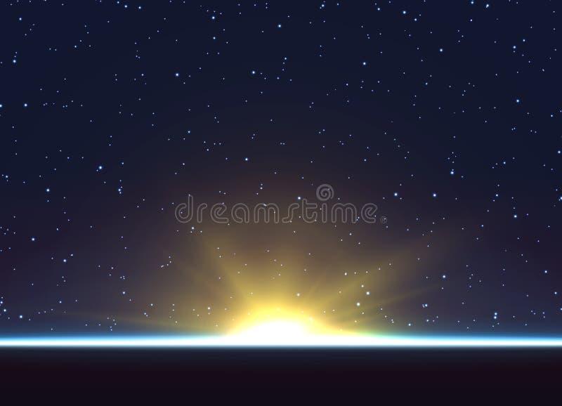 Planetjordsoluppgång Jordklothorisontatmosfär vektor illustrationer