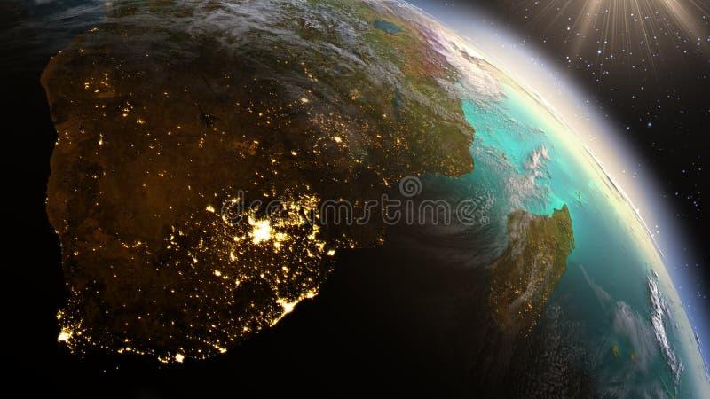 PlanetjordSydafrika zon genom att använda NASA för satellit- bildspråk arkivbilder