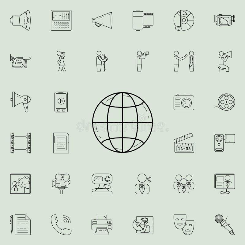 Planetjordsymbol Detaljerad uppsättning av massmediasymboler Högvärdigt kvalitets- tecken för grafisk design En av samlingssymbol royaltyfri illustrationer