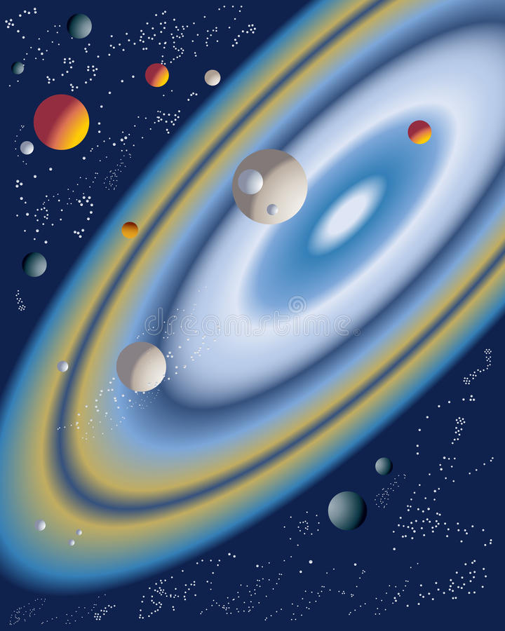 Planets. An illustration of a group of planets with stars and rings with a deep blue background stock illustration