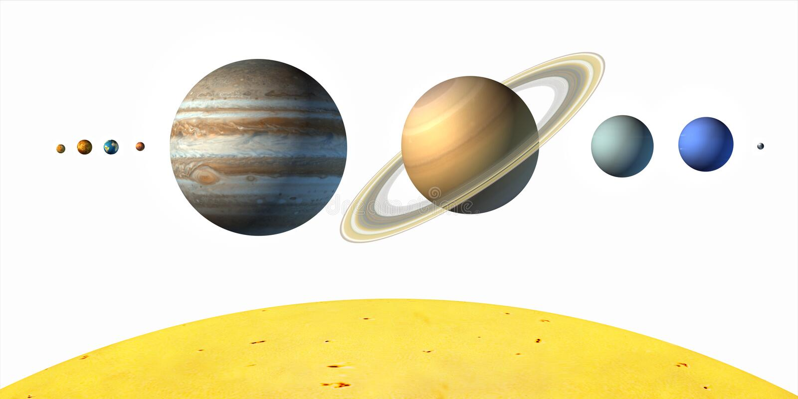 Planets. From our solar system. White background. Digital illustration royalty free illustration