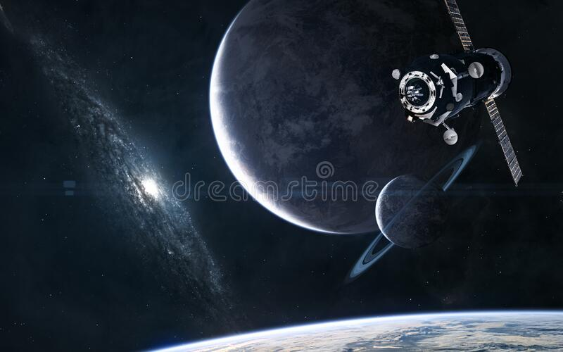 Planets on a blue galaxy background. Space station in orbit of exoplanet. Science fiction. Elements of this image furnished by NASA stock images