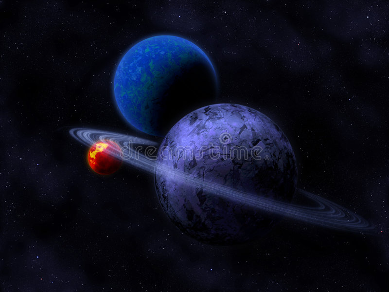 Planets and darksun stock image