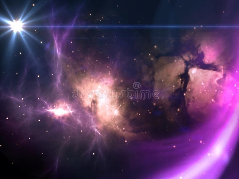 Planets and galaxies, science fiction wallpaper. Beauty of deep space. Billions of galaxies in the universe Cosmic art background vector illustration