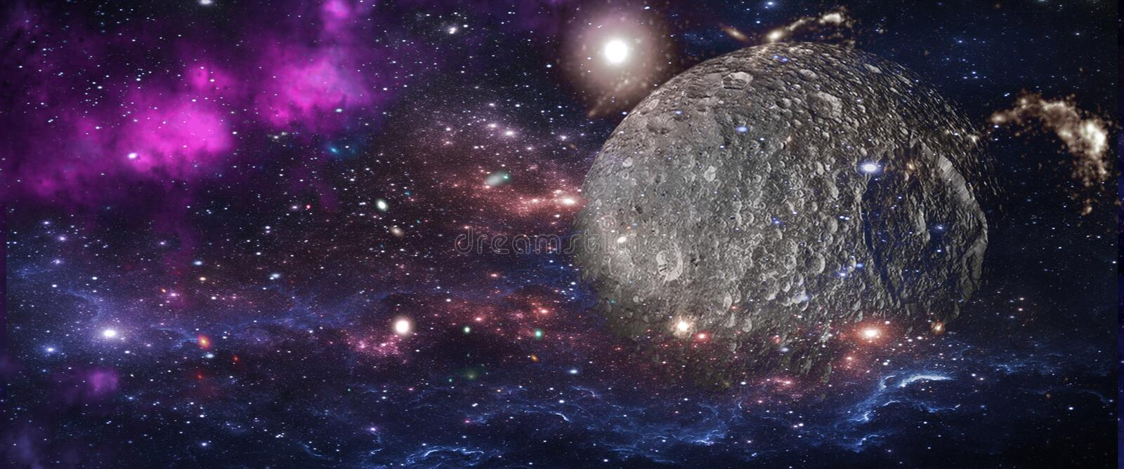 Planets and galaxies, science fiction wallpaper. Beauty of deep space. stock image