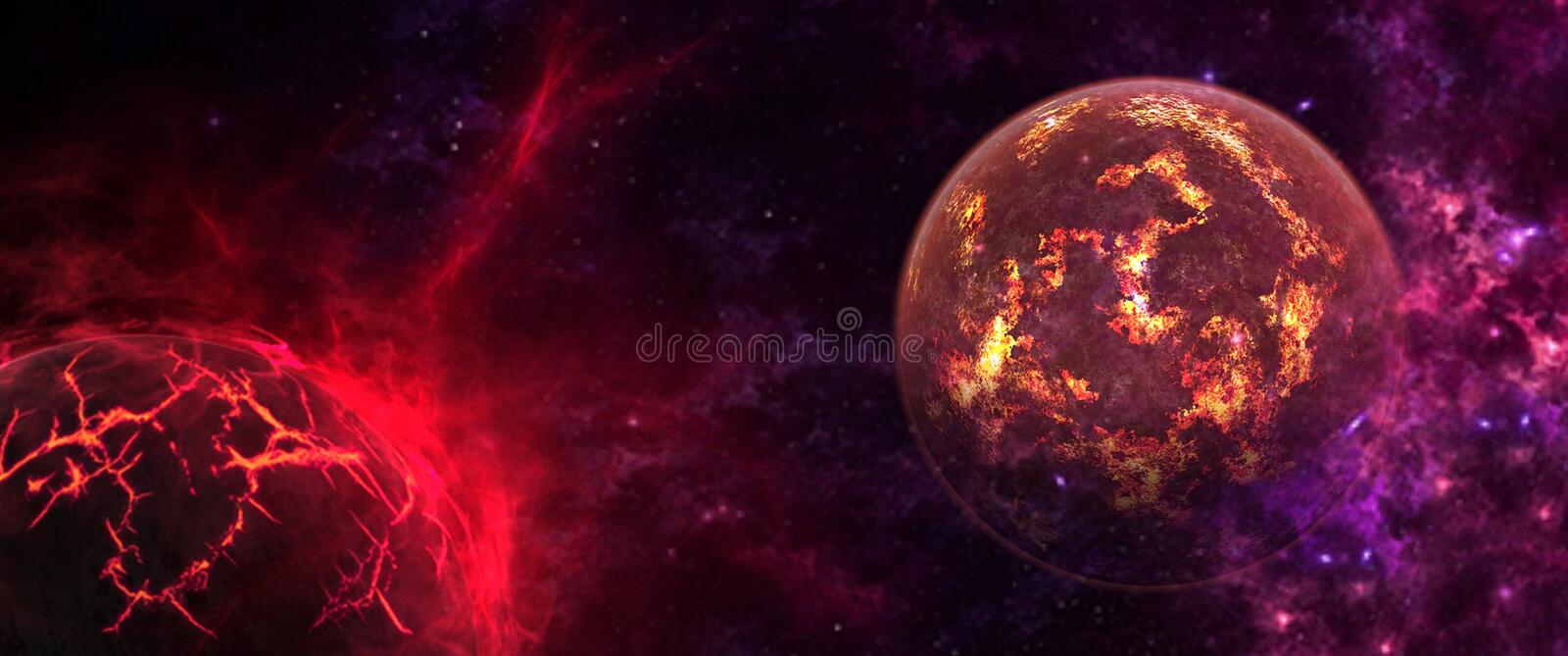 Planets and galaxies, science fiction wallpaper. Beauty of deep space. Billions of galaxies in the universe Cosmic art background stock illustration