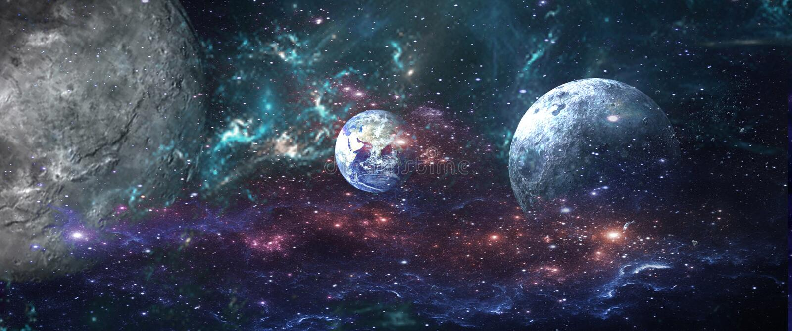 Planets and galaxies, science fiction wallpaper. Beauty of deep space. vector illustration