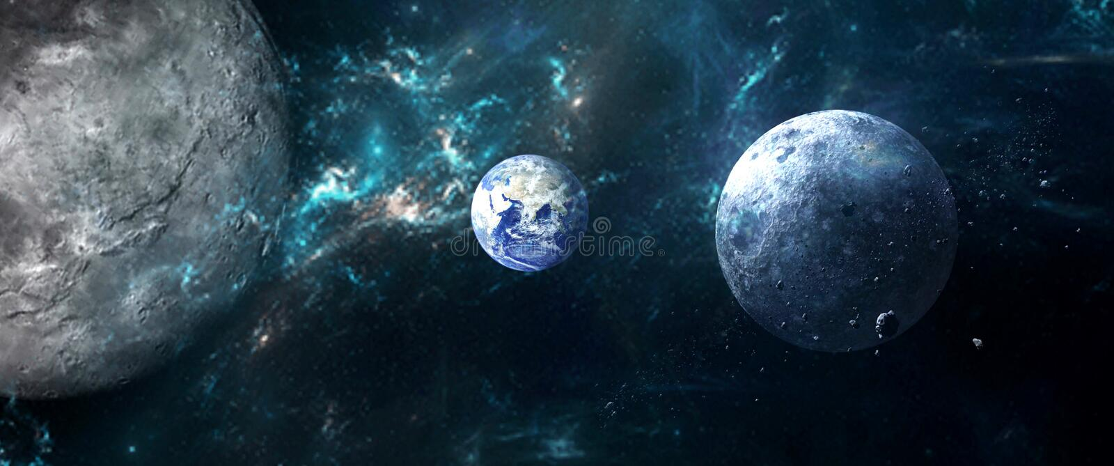 Planets and galaxies, science fiction wallpaper. Beauty of deep space. royalty free illustration
