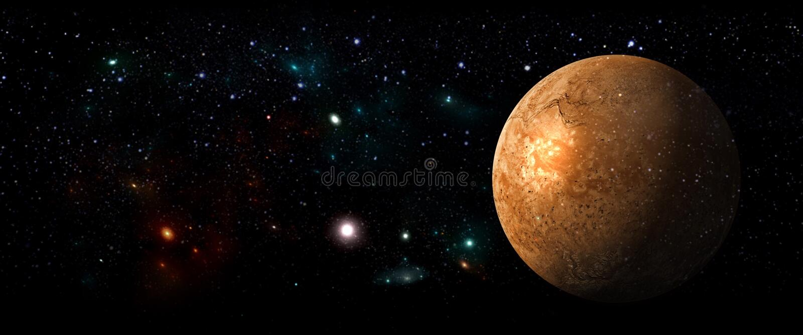 Planets and galaxies, science fiction wallpaper. Beauty of deep space. stock illustration