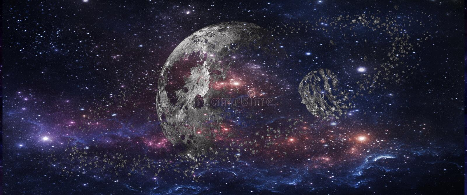 Planets and galaxies, science fiction wallpaper. Beauty of deep space. Billions of galaxies in the universe Cosmic art background royalty free stock photography