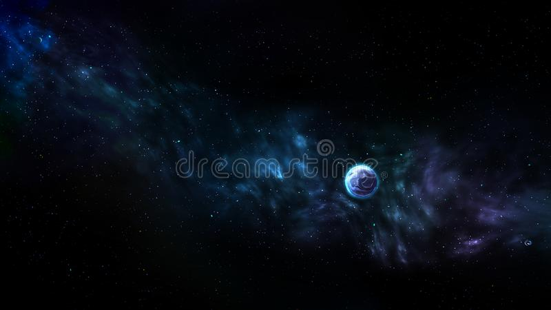Planets, Galaxy background, Cosmos and Nebula, Universe, Fantasy Outer space background stock illustration