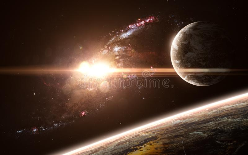 Planets, galaxy, beautiful space landscape. Abstract science fiction. Elements of the image were furnished by NASA. Planets, galaxy, beautiful space landscape stock photo