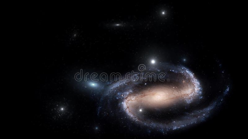 Planets and galaxy, cosmos, physical cosmology. Science fiction wallpaper. Beauty of deep space. Billions of galaxies in the universe Cosmic art background royalty free illustration