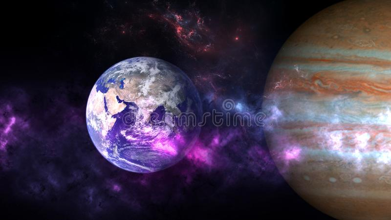 Planets and galaxy, cosmos, physical cosmology stock images