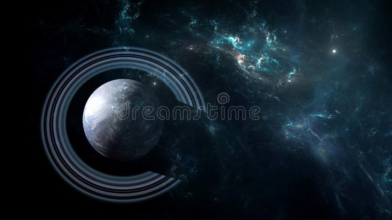 Planets and galaxy, cosmos, physical cosmology royalty free illustration