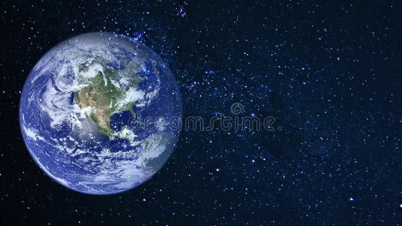 Planets and galaxy, cosmos, physical cosmology. Science fiction wallpaper. Beauty of deep space. Billions of galaxies in the universe Cosmic art background stock illustration